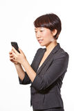 Business woman using her cell phone stock images