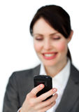 Business woman using her mobile phone Stock Photos