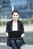 Business woman using a Laptop Royalty Free Stock Photos