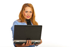 Business woman using laptop Stock Photography