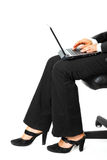 Business woman using laptop. Close-up. Royalty Free Stock Photos