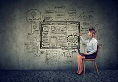 Business woman using laptop drawing new startup internet project stock photos