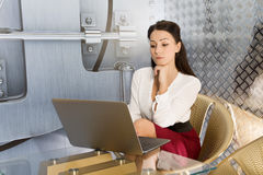 Business woman using laptop at office Stock Photography