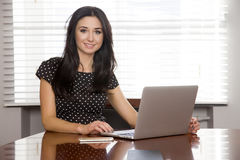 Business woman using laptop at office. Portrait of a beauty attractive and sensuality pretty young adult brunette business woman using laptop at office Stock Photography