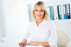 Business woman using laptop at office Royalty Free Stock Image