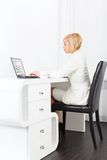 Business woman using laptop typing Stock Photos