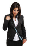 Business woman using a measuring tape Royalty Free Stock Photography