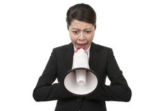 Business Woman Using a Megaphone Stock Image