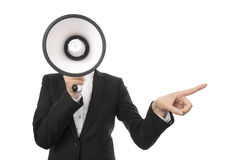 Business Woman Using a Megaphone. Businesswoman Using a Megaphone Criticize down Royalty Free Stock Photography