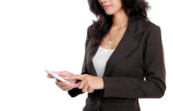 Business woman using mobile phone. Isolated over white background Stock Photo