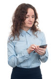 Business Woman using a mobile phone. isolated Stock Photography