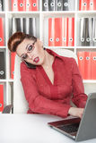 Business woman using mobile phone and working Stock Photo