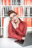 Business woman using mobile phone and working Royalty Free Stock Photo