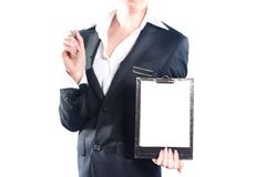 Business woman using notebook isolated on white background Stock Photos