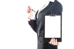 Business woman using notebook isolated on white background Stock Photography