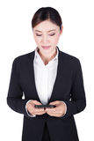 Business woman using smart phone isolated on white Stock Photos