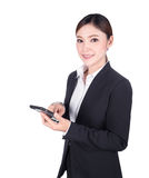 Business woman using smart phone isolated on white Royalty Free Stock Image