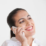Business woman using smartphone Stock Images