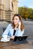 Business woman using tablet on lunch break. Stock Photo