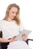 Business woman using on a tablet PC Royalty Free Stock Images