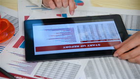 Business Woman Using Touchpad. With Financial Report. Slow Motion Effect stock footage