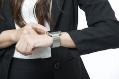Business woman using a variety of mobile Royalty Free Stock Photo