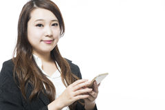 Business woman using a variety of mobile Royalty Free Stock Image