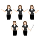 Business woman with various hand gestures Stock Photo