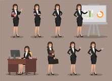 Business woman in various poses. Flat design. Stock Photography
