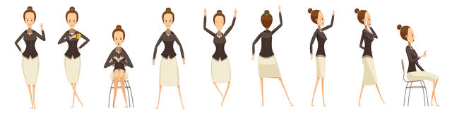 Business Woman In Various Poses Set stock illustration