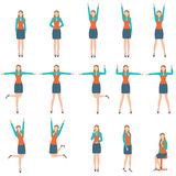 Business woman in various simple exercise. Royalty Free Stock Image