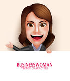 Business Woman Vector Character with Friendly Smile Holding Empty White Board. Set of 3D Realistic Professional Business Woman Vector Character with Friendly Royalty Free Stock Photography