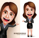 Business Woman Vector Character with Friendly Smile Showing Presentation Stock Photography