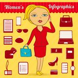 Business woman vector infographic set Stock Photo