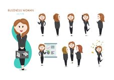 Business woman, vector, pretty girls cartoon character collection set, working office, money and richness stock illustration