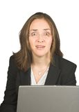 Business woman very surprised Royalty Free Stock Photography