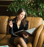 business woman. View very important documents. Royalty Free Stock Image