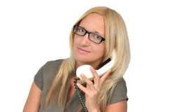 Business woman with vintage phone Stock Image