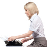 Business woman with vintage typing machine Royalty Free Stock Image