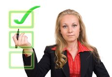 Business woman - virtual green check mark Royalty Free Stock Photo