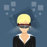 Business Woman Virtual Reality Cyber Play Video Game Wear Digital Glasses Stock Image