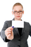 Business woman with the visit card. Stock Photos