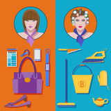 Business woman vs housewives. Flat vector set Stock Image