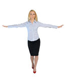 Business woman walk on imaginary rope Stock Images