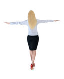 Business woman walk on imaginary rope Stock Photography