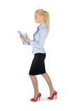 Business woman walk and use tablet Stock Photos