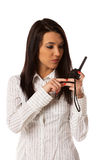 Business woman on the walkie-talkie Royalty Free Stock Photography