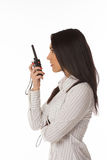 Business woman on the walkie-talkie Stock Photo