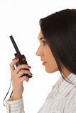 Business woman on the walkie-talkie Stock Photography