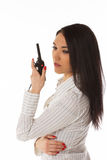 Business woman on the walkie-talkie Stock Images
